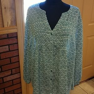 Teal and White  Blouse